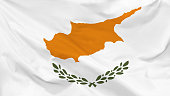 Fragment of a waving flag of the Republic of Cyprus in the form of background, aspect ratio with a width of 16 and height of 9, vector