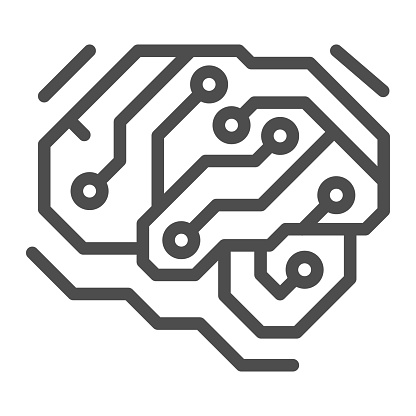 Fragment of analog circuit in the form of a brainline icon, electronics concept, PCB vector sign on white background, outline style icon for mobile concept and web design. Vector graphics.