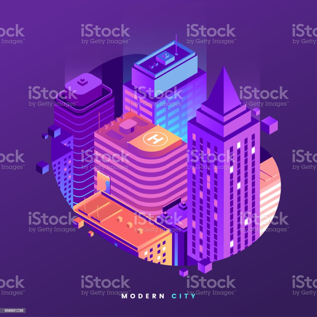 fragment of night city isometric illustration city buildings in
