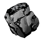 A fragment of stone coal. The source of energy and useful minerals isolated on white background. Vector cartoon close-up illustration