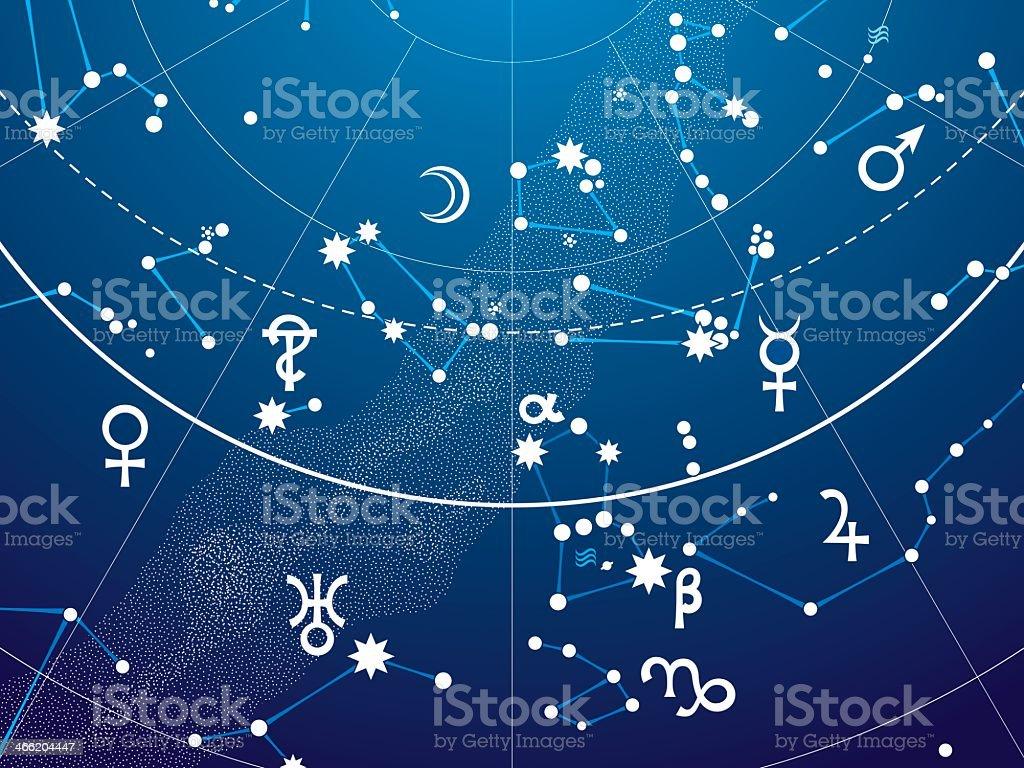 Fragmented parts of astronomical Celestial atlas  vector art illustration