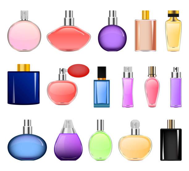 illustrazioni stock, clip art, cartoni animati e icone di tendenza di fragrance bottles mockup set, realistic style - profumi spray