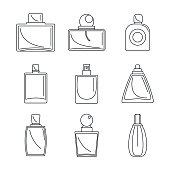 Fragrance bottles aroma flavor perfume icons set. Outline illustration of 9 fragrance bottles aroma flavor perfume vector icons for web