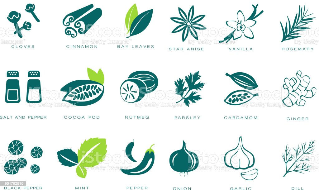Fragrant spices linear icons set, seasonings with names vector Illustrations on a white background royalty-free fragrant spices linear icons set seasonings with names vector illustrations on a white background stock vector art & more images of blue