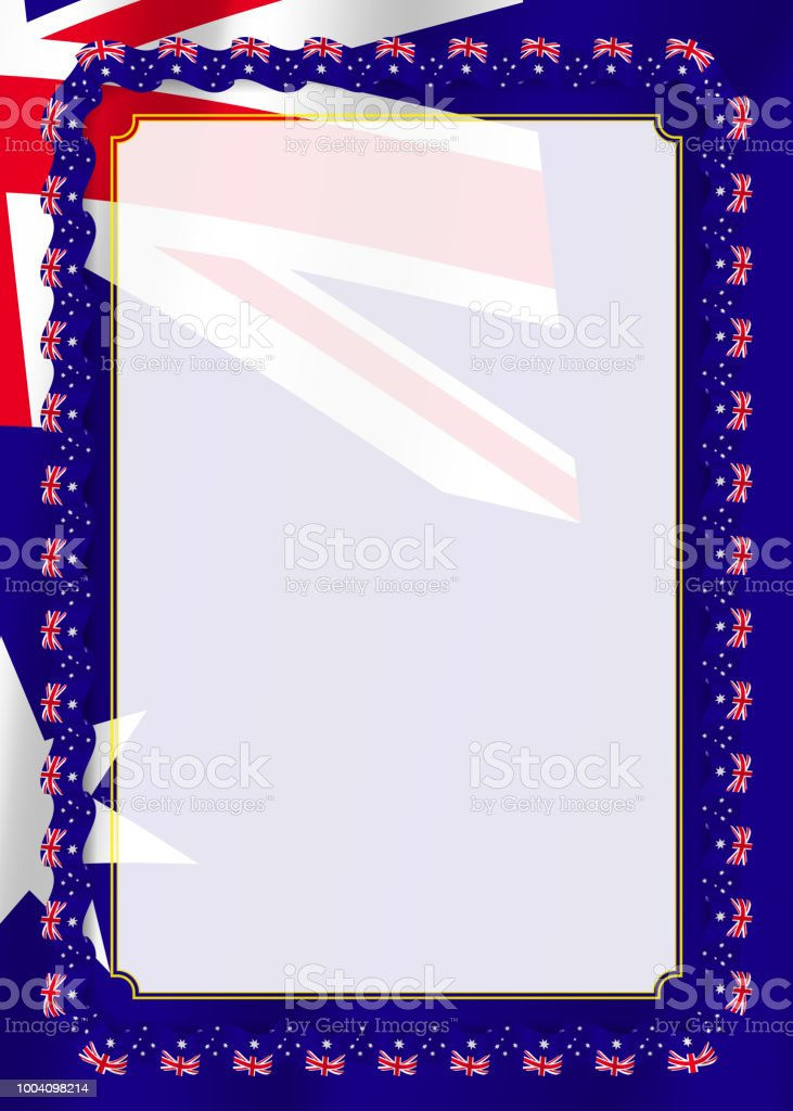 Frame And Border Of Ribbon With Australia Flag Template Elements For ...