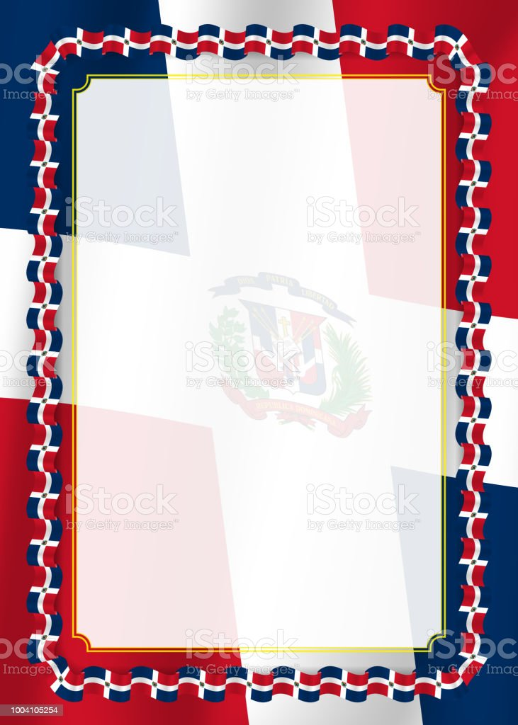 frame and border of ribbon with dominican republic flag template