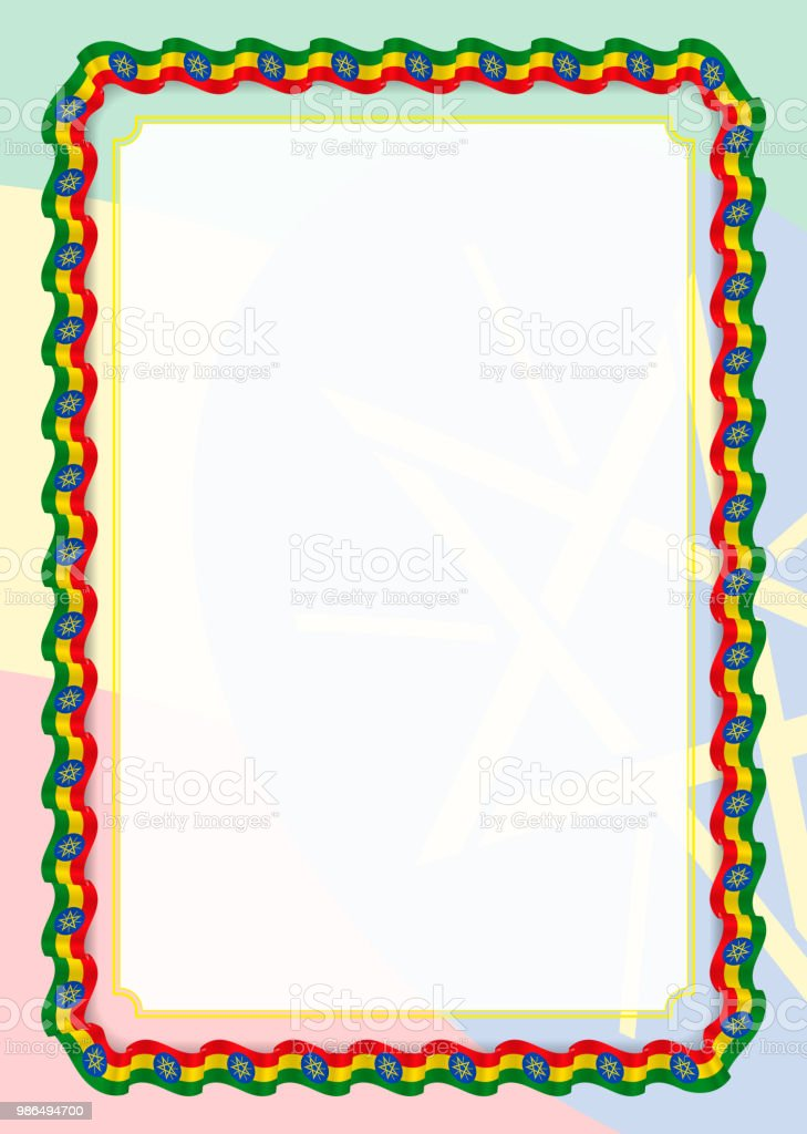 Frame And Border Of Ribbon With Ethiopia Flag Template Elements For ...