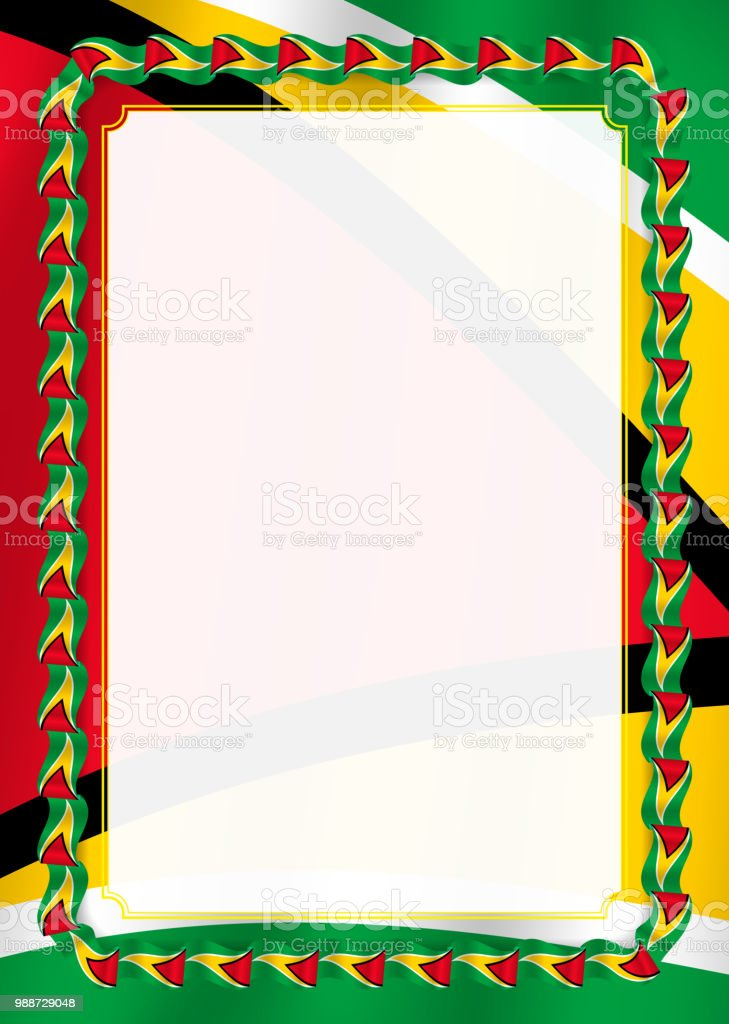 frame and border of ribbon with guyana flag template elements for