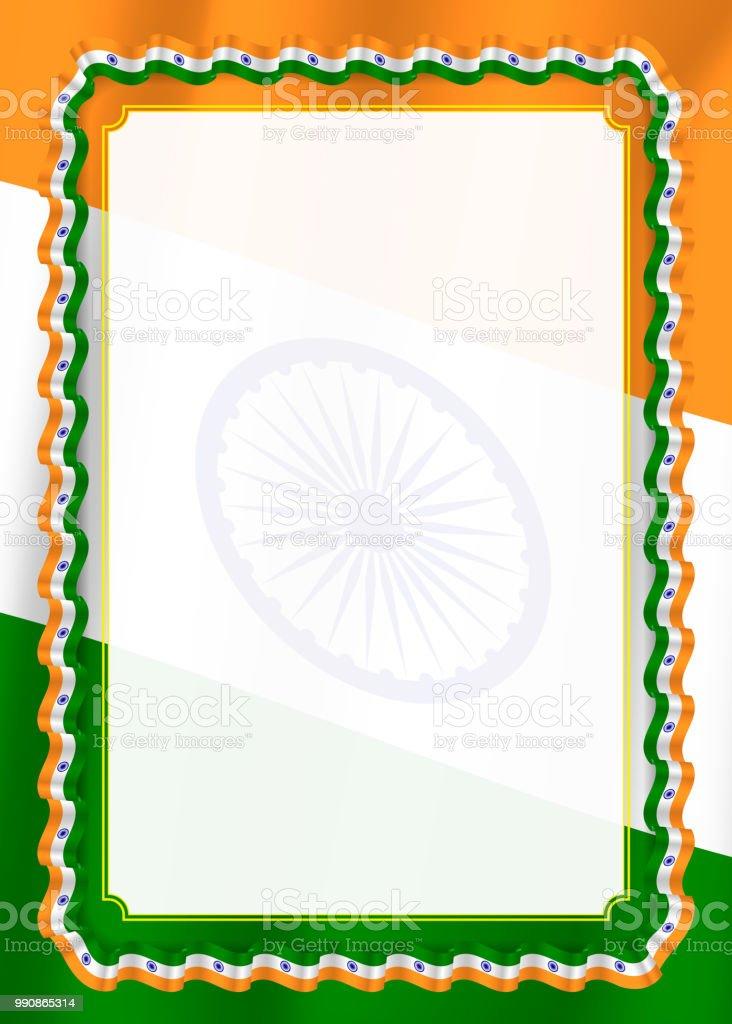 Rahmen Und Rand Des Bandes Mit Indien Flagge Vorlagenelemente Für ...