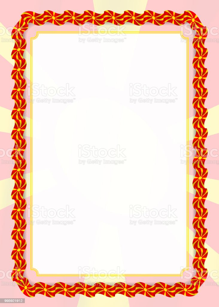 frame and border of ribbon with macedonia flag template elements for