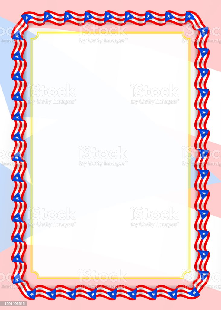 frame and border of ribbon with puerto rico flag template