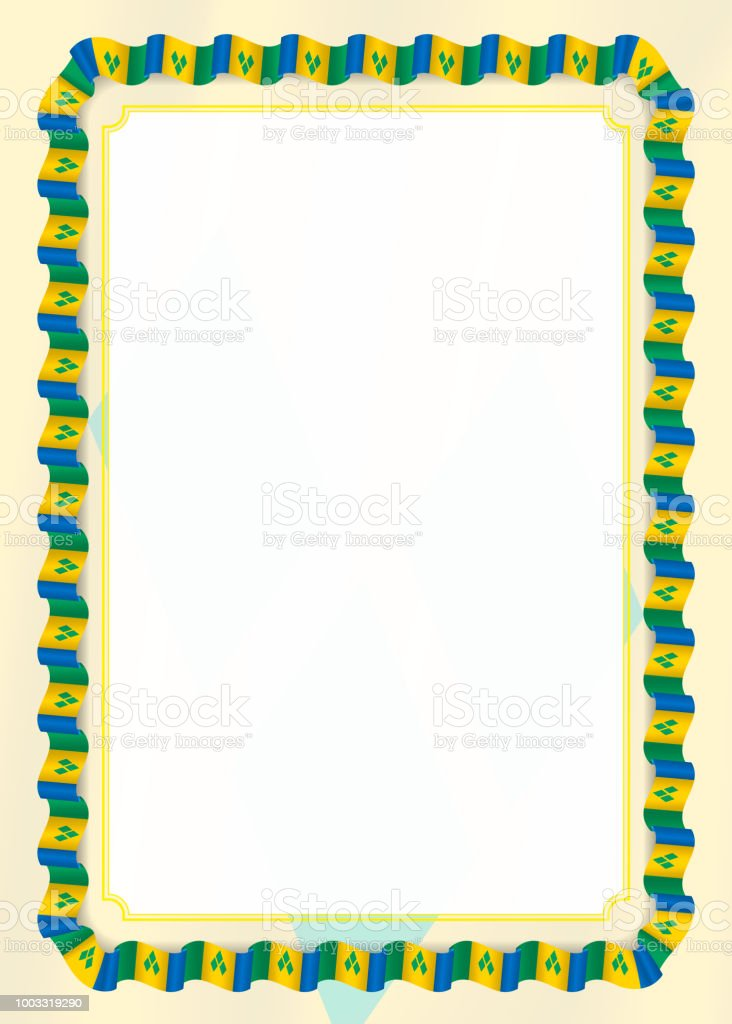 Frame And Border Of Ribbon With Saint Vincent And The Grenadines ...