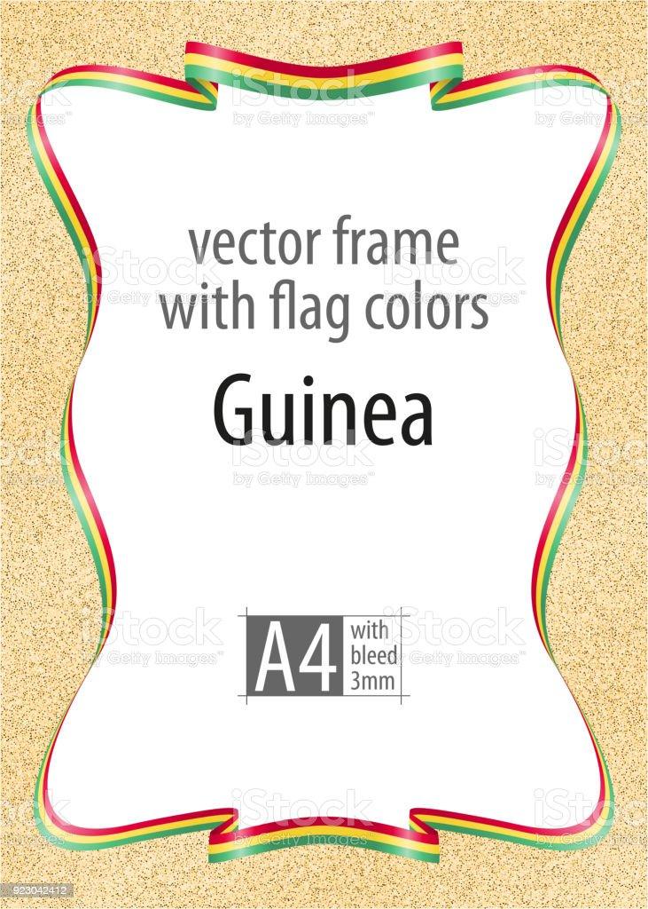 Marco Y Borde De Cinta Con Los Colores De La Bandera De Guinea ...