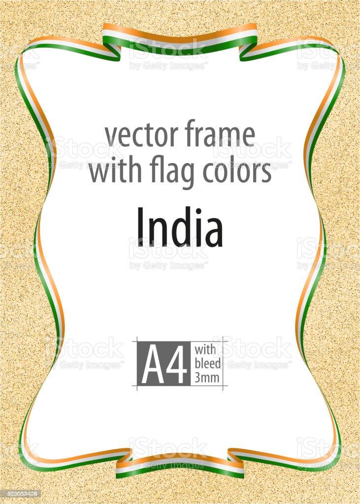 Rahmen Und Rand Des Bandes Mit Den Farben Der Flagge Von Indien ...