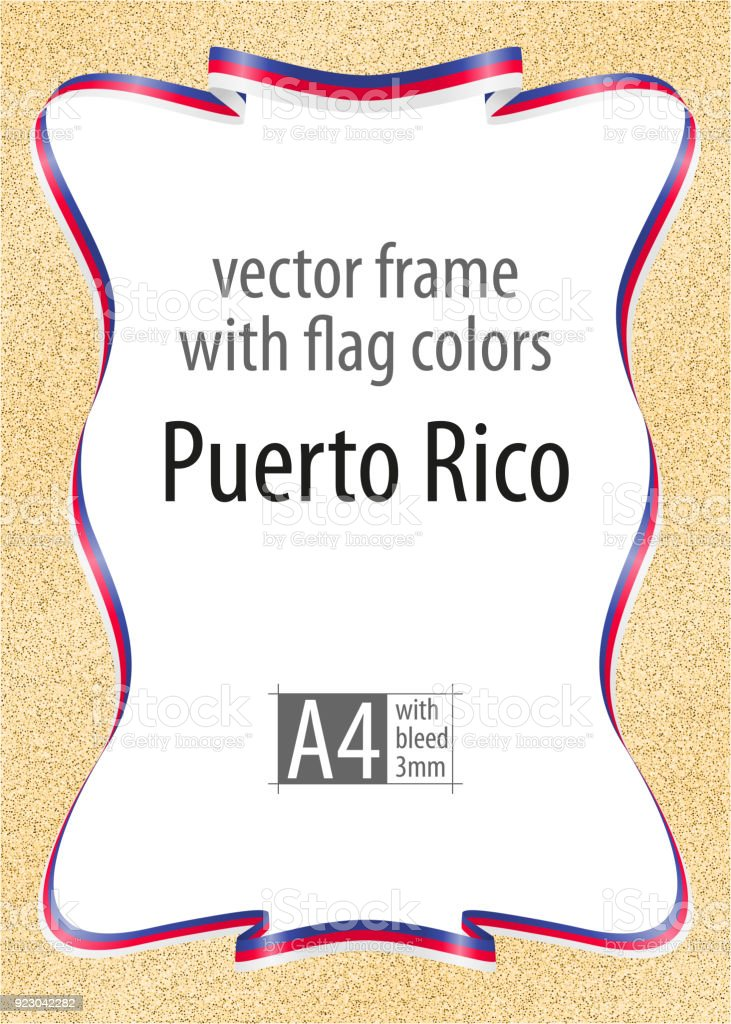 Marco Y Borde De Cinta Con Los Colores De La Bandera De Puerto Rico ...