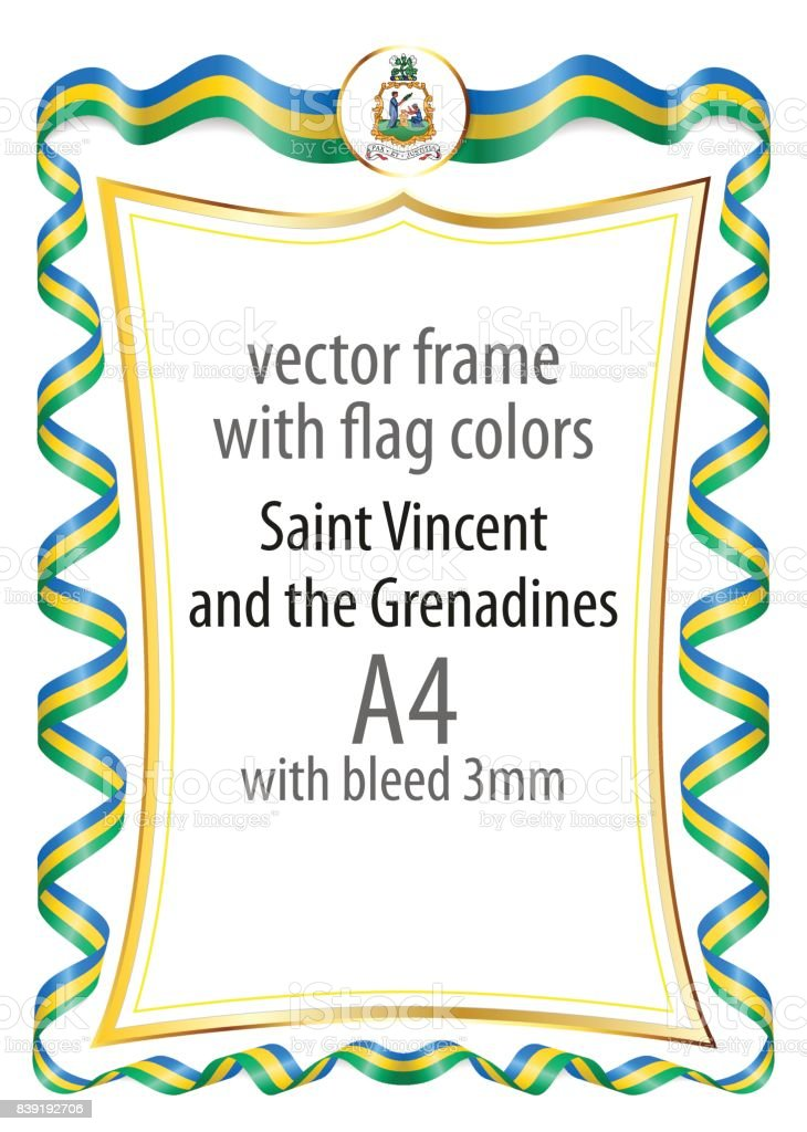 Frame And Border Of Ribbon With The Colors Of The Saint Vincent And ...