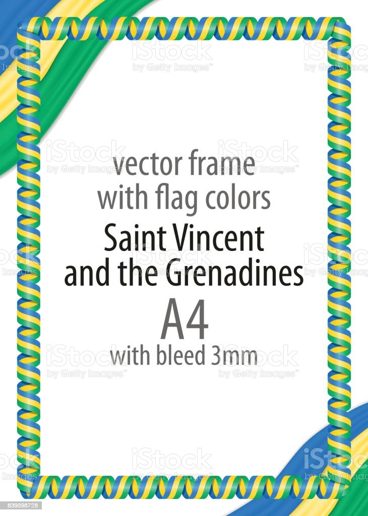 Rahmen Und Rand Des Bandes Mit Den Farben Der Flagge Von St Vincent ...
