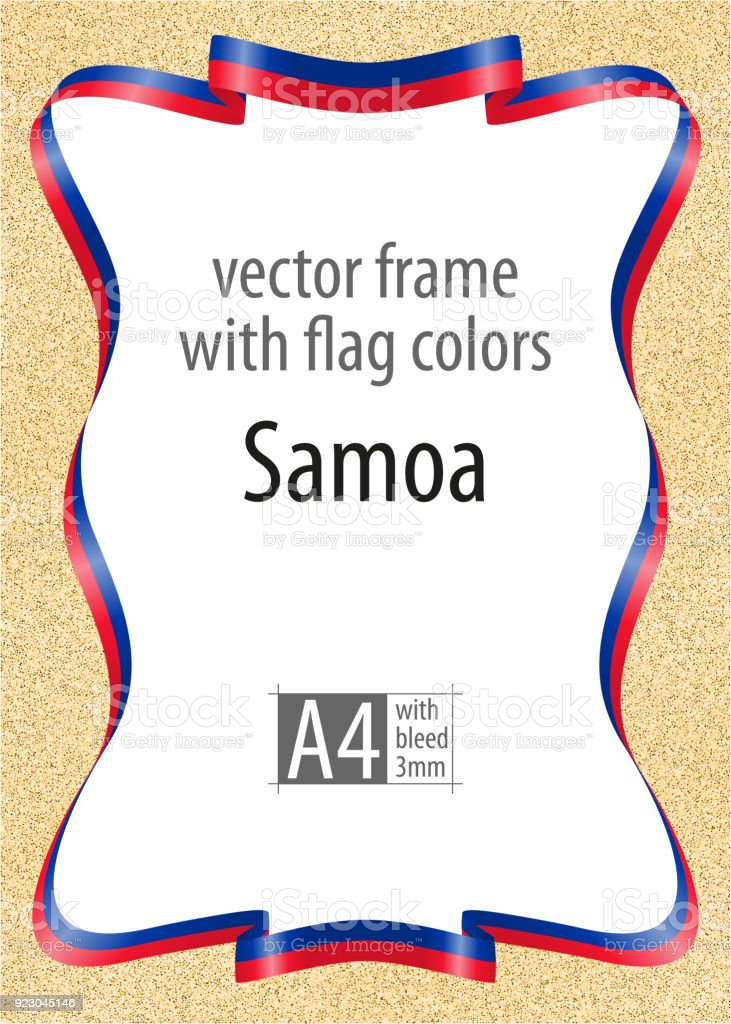 frame and border of ribbon with the colors of the samoa flag