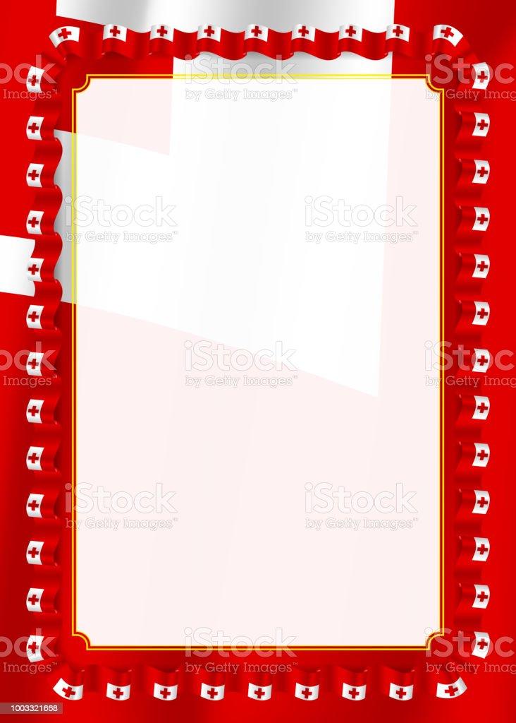 Rahmen Und Rand Des Bandes Mit Tonga Flagge Vorlagenelemente Für Ihr ...