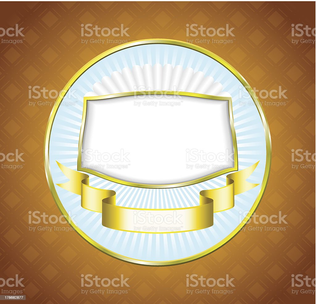 Frame and ribbon are on the label. royalty-free stock vector art