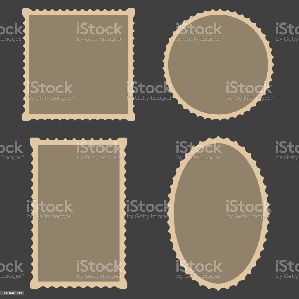 frame Blank Postage Stamps Set, vector for frame for decoration photo gallery vector art illustration