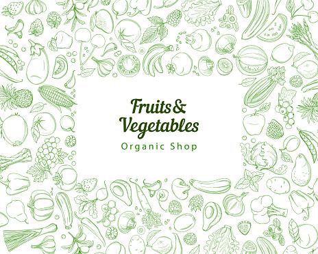 Frame border background pattern green fresh tropical fruits and vegetables