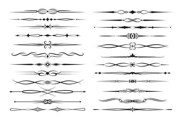 ilustrações de stock, clip art, desenhos animados e ícones de frame borders and text dividers monochrome vector - compasso