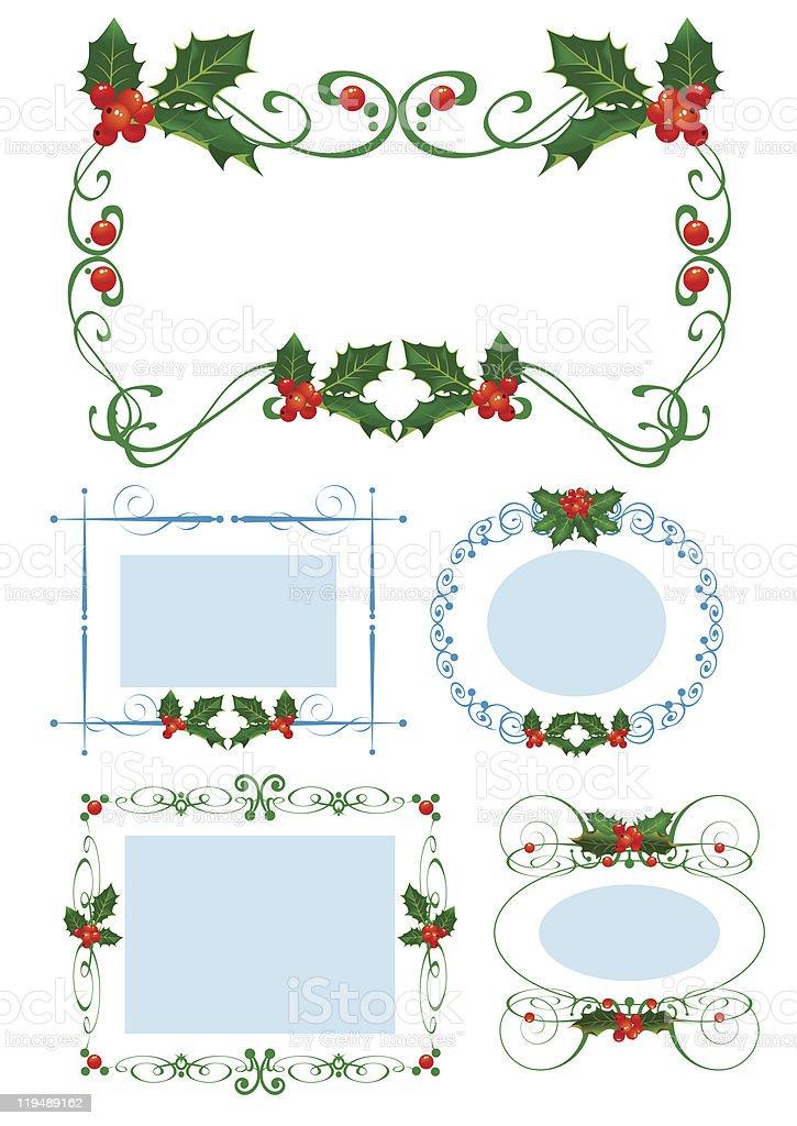 Frame Christmas. Holly. New set royalty-free stock vector art