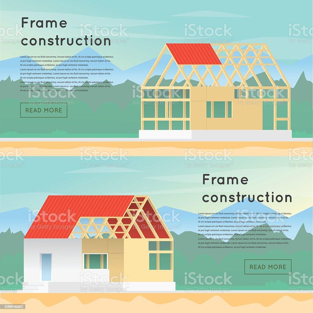 Frame-Konstruktion. Holz-Rahmen-Konstruktion. Haus Design. – Vektorgrafik