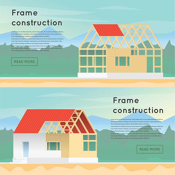 frame-konstruktion. holz-rahmen-konstruktion. haus design. - neues zuhause stock-grafiken, -clipart, -cartoons und -symbole