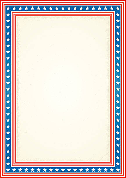 Frame Containing Red, White, and Blue Stripes with Stars vector art illustration