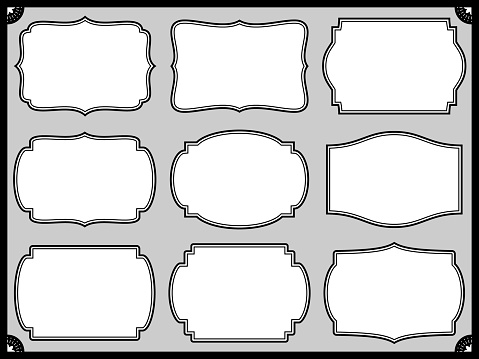 Frame design set with various classic shapes