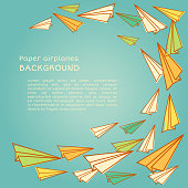 Vector frame design with paper airplanes in pastel colors