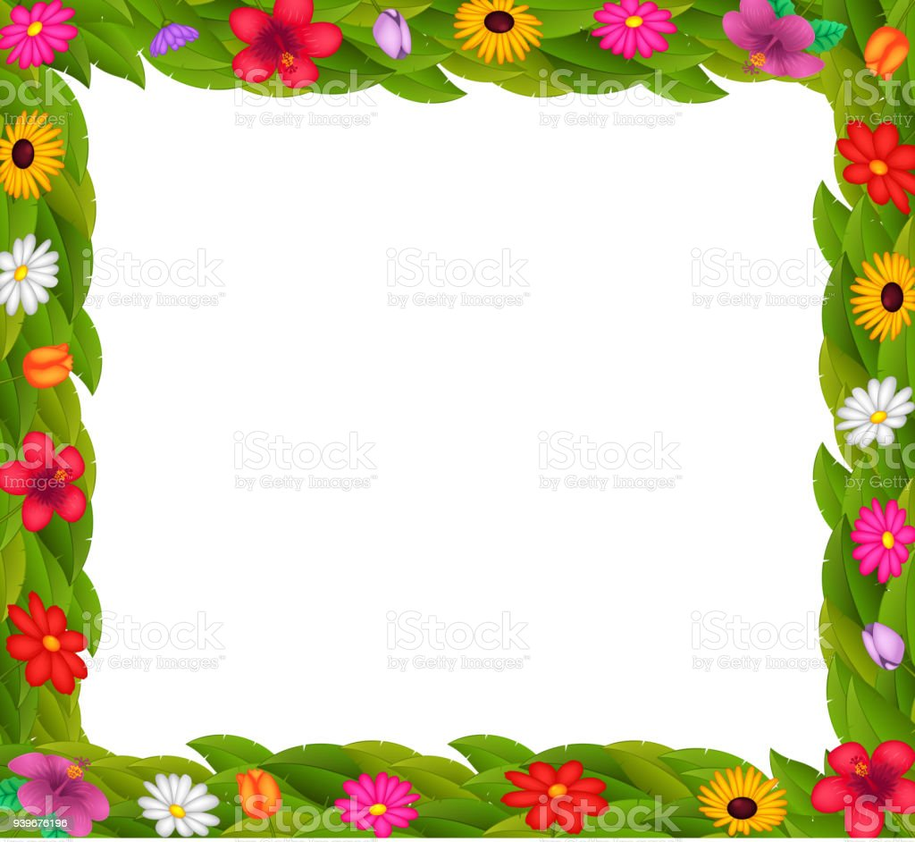 Frame Design With Colorful Flowers Royalty Free Stock Vector Art