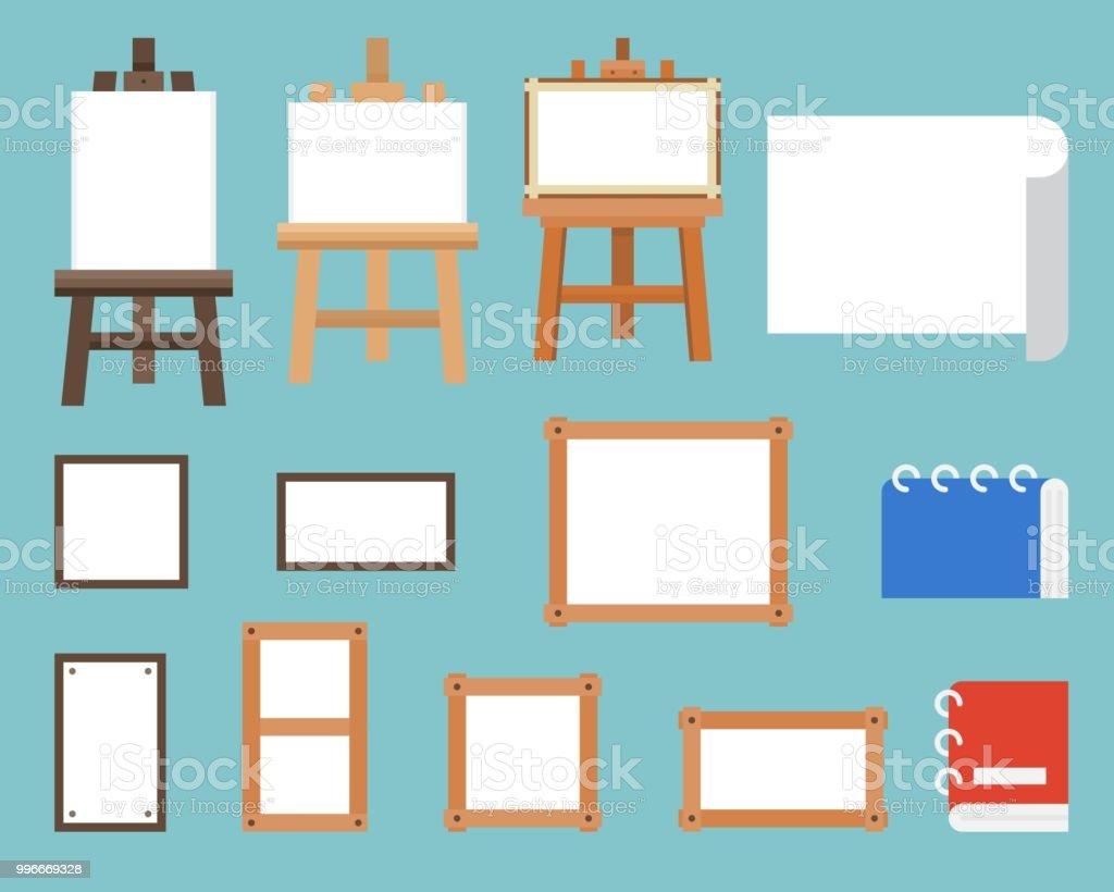 Ilustración de Marco Soporte De Caballete Y Lienzo Diseño Plano Del ...