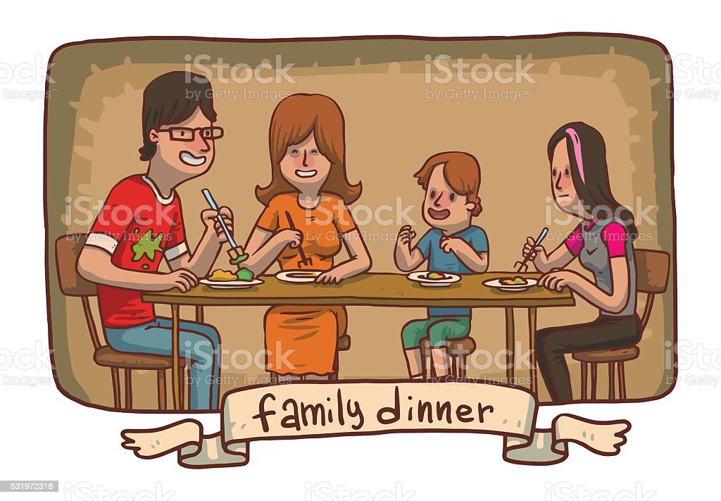 Frame Family Dinner Father Mother Daughter Son Eat Food