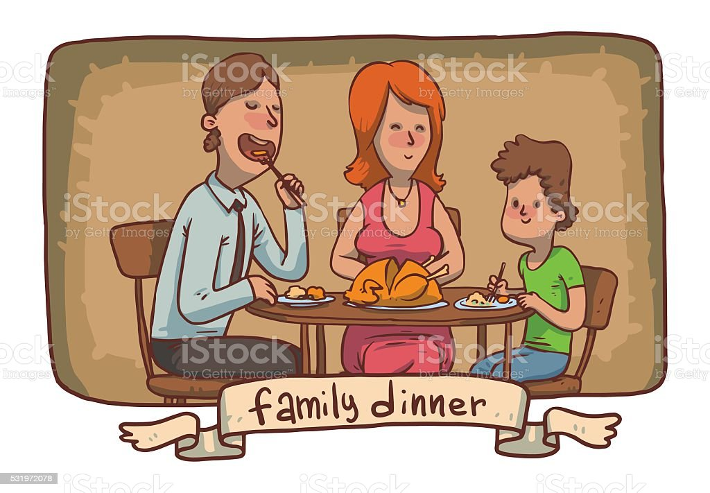Frame Family Dinner Father Mother Son Eat Fried Chicken Stock Vector ...