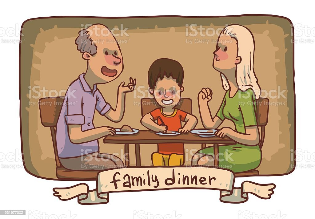 Frame Family Dinner Grandfather Mother And Son Eat Food Stock Vector