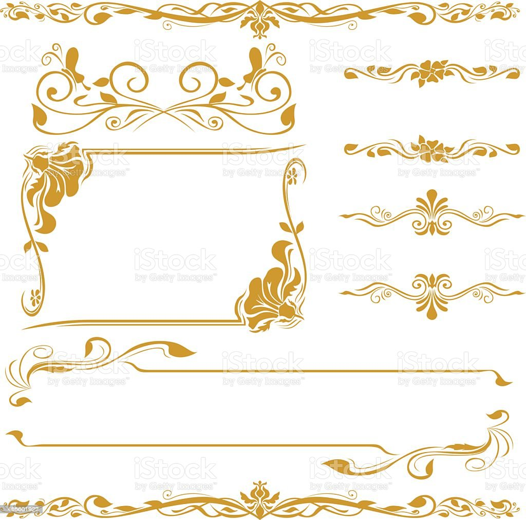 frame floral cornner line art gold set vector art illustration