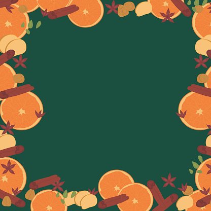 frame for advertising and congratulations with spices and orange slices. spicy ornament