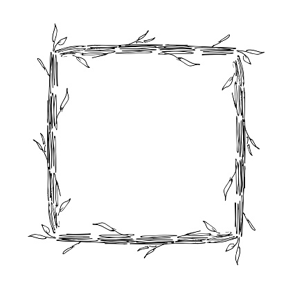 Frame for an inscription with leaves and stems. Vector illustration.