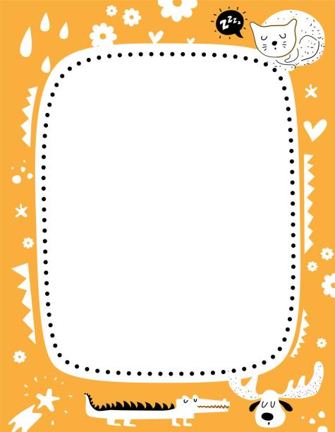 Frame for baby's photo album, invitation, note book or postcard with cute animals and elements in cartoon style Frame for baby's photo album, invitation, note book or postcard with cute animals and elements in cartoon style. Crocodile, moose, sleeping cat on the background of flowers, stars, hearts bedroom borders stock illustrations