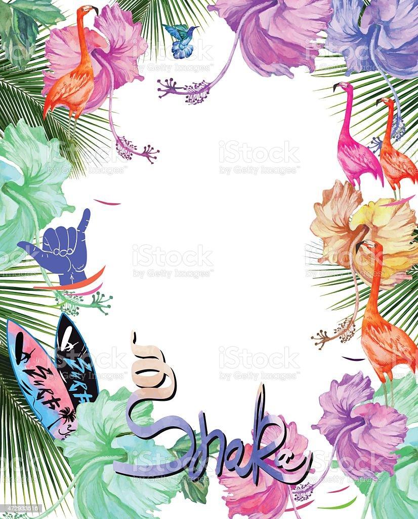 Rahmen Für Design Aquarell Tropischen Blumen Und Palmbaum Und Vögel ...