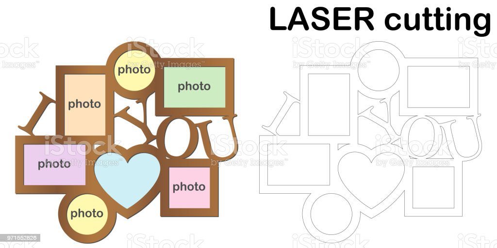 Frame for photos for laser cutting. Collage of photo frames. Template laser cutting machine for wood and metal vector art illustration