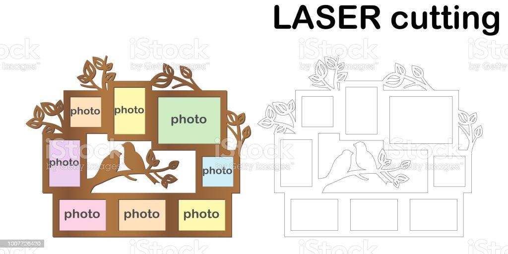 Rahmen Für Fotos Mit Vögel Und Blätter Für Das Laserschneiden ...