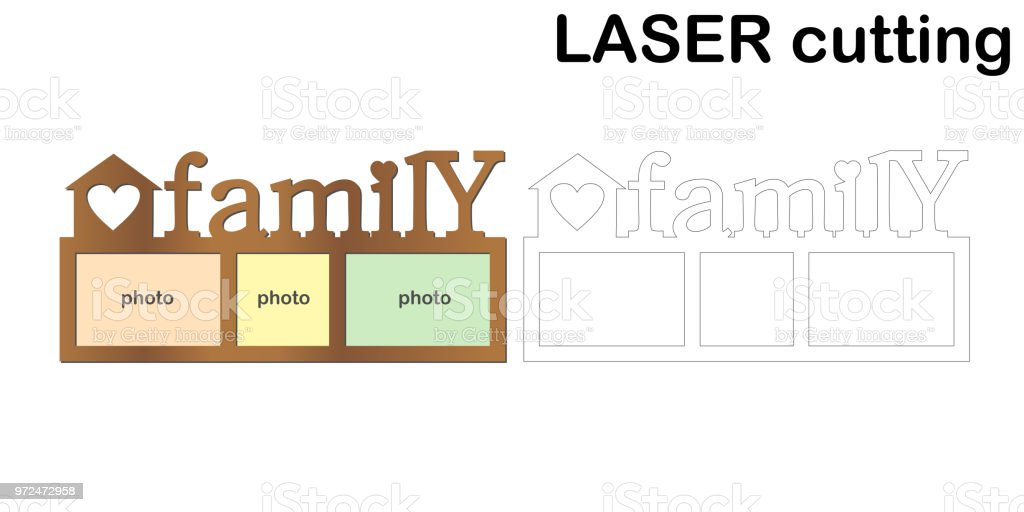 Frame for photos with inscription 'Family' for laser cutting. Collage of photo frames. Template laser cutting machine for wood and metal vector art illustration