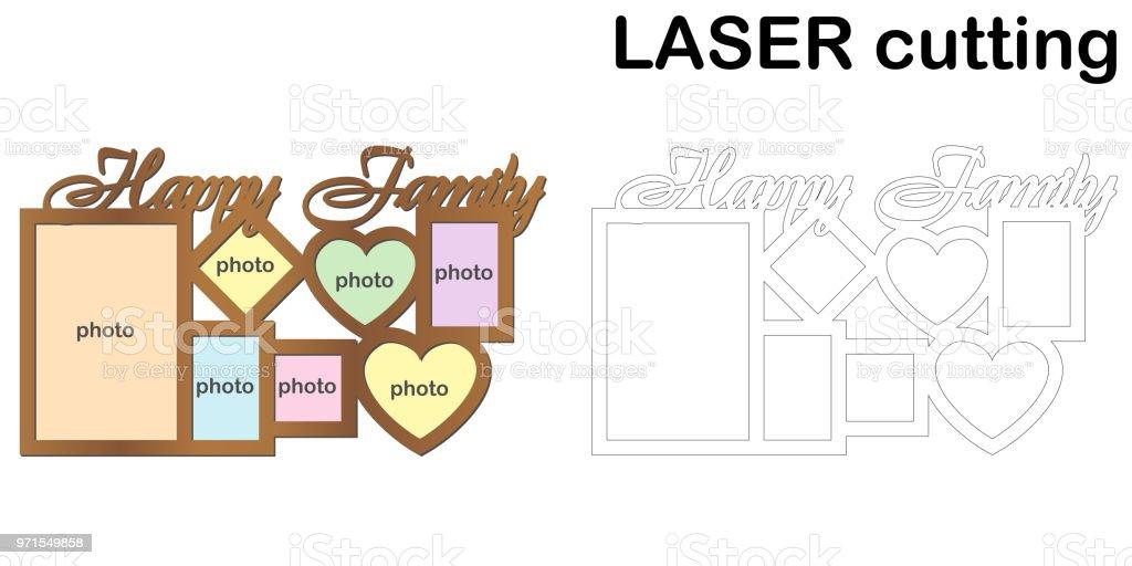 Rahmen Für Fotos Mit Aufschrift Happy Family Für Das Laserschneiden ...