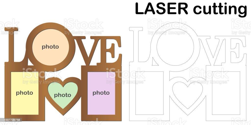 Rahmen Für Fotos Mit Aufschrift Love Für Das Laserschneiden Collage ...