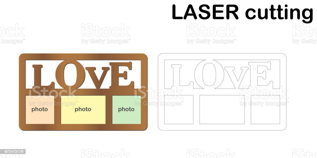 Frame for photos with inscription 'Love' for laser cutting. Collage of photo frames. Template laser cutting machine for wood and metal. vector art illustration