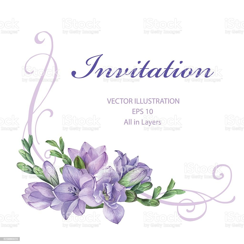 frame for wedding invitation with purple freesia flowers April Showers Clip Art Free free springtime clipart images